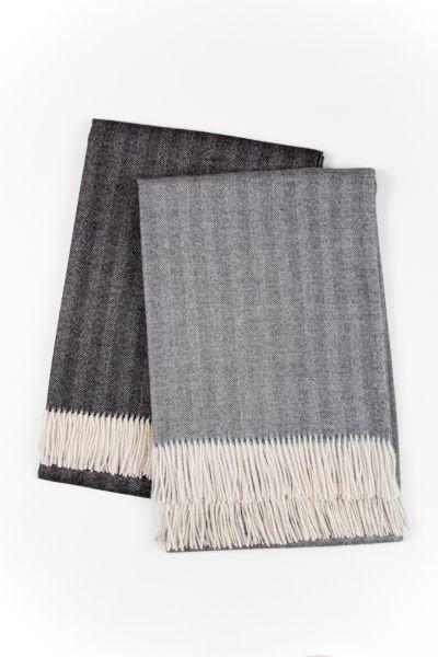 Sofa Decke mit Fishgrad Muster aus gewebter Baby Alpaka Wolle